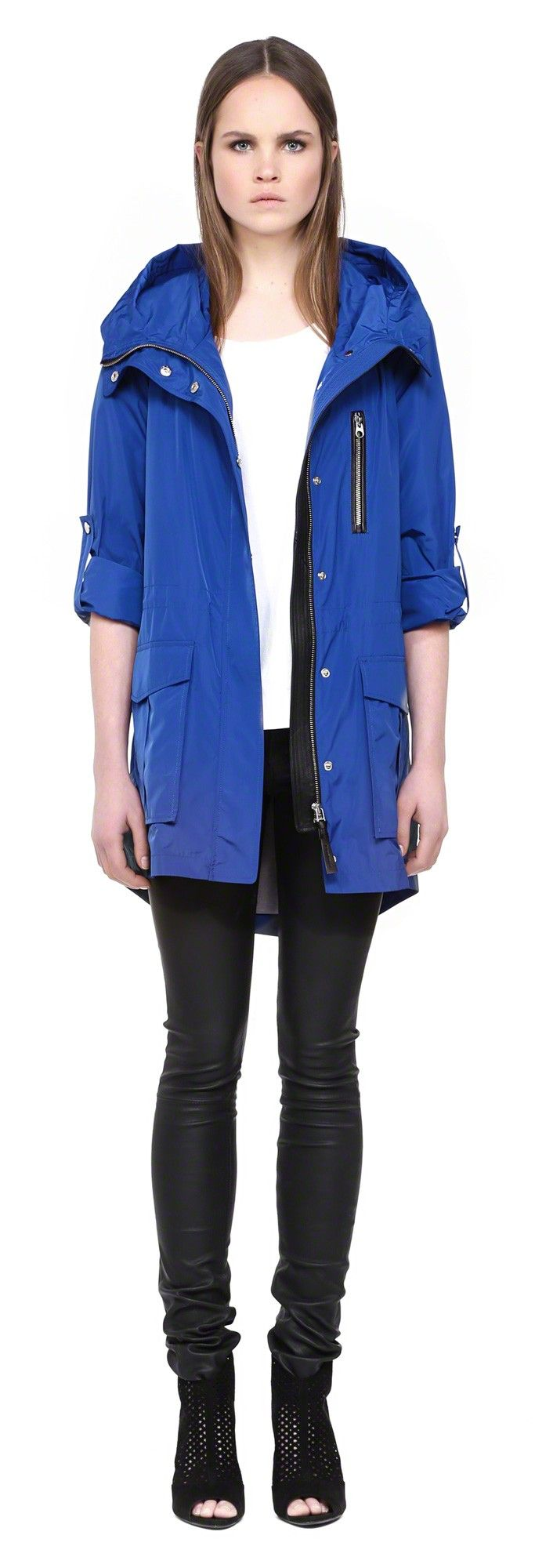 Mackage Gypsy S5 Cobalt Rain Hooded Parka With Leather
