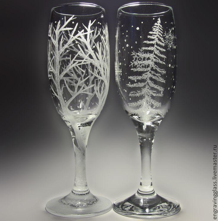 Купить Новогодние бокалы гравировка Зима - Новый Год, новогодние подарки, подарок к Новому году