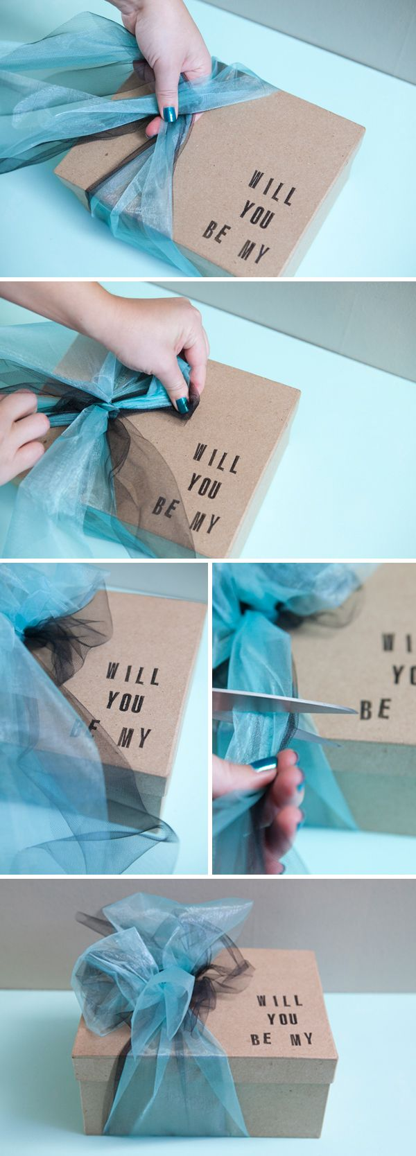 gift ideas for many occasions...Will you be my Bridesmaid? present box SomethingTurquoise.com Not what I would put inside, but interesting idea