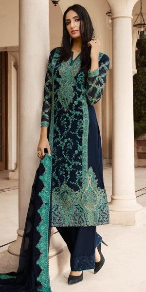 Dazzle Blue And Green Georgette Straight Suit.