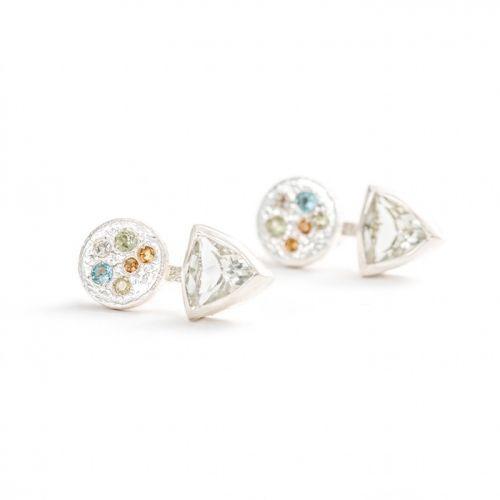 Trillion Earrings   Silver Green Amethyst