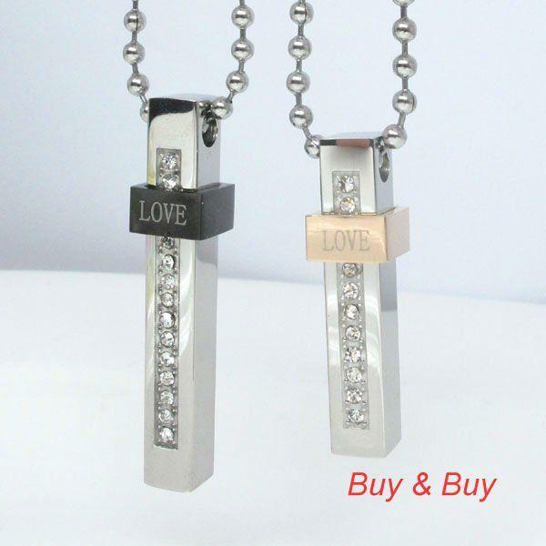 Нержавеющая сталь пара кулон, Влюблённые кулон с necklacke, Qlp-373a, Черный / Rosines / серебро цвет, 5 pairs/lot