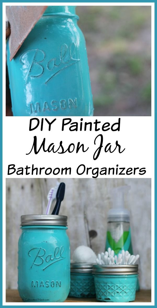 Cute bathroom organization idea! Add some cottage charm to your bathroom with these easy to make Painted Mason Jar Bathroom Organizers! | bathroom storage ideas | mason jar crafts