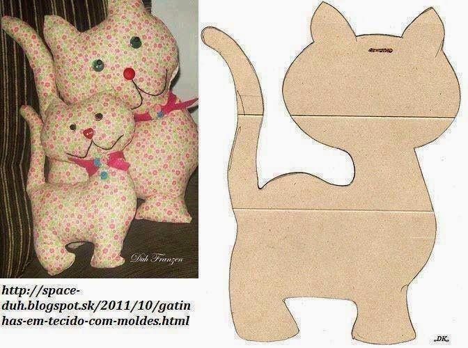ARTE COM QUIANE - Paps,Moldes,E.V.A,Feltro,Costuras,Fofuchas 3D: molde gatinho de tecido