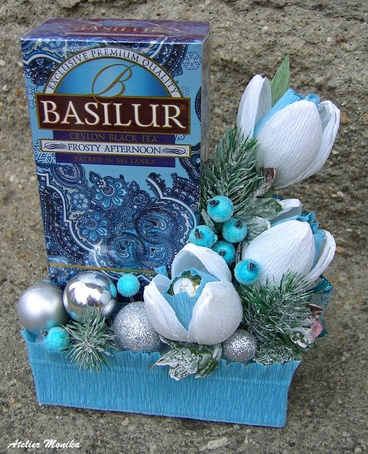 Christmas decor tea Basilur + Ferrero Rocher  , Vánoční dekor čaj Basilur + Ferrero Rocher https://www.facebook.com/AtelierMonikaCelenkyBroze?fref=ts