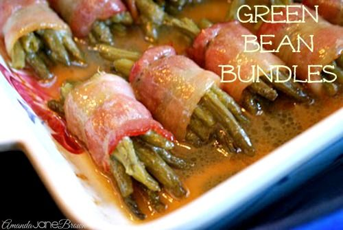 Bacon-Wrapped Green Beans, didn't have brown sugar so used a little white sugar, these were very tastey! Good compliment to chicken and potatoes