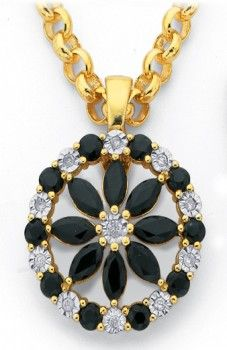 9ct Natural Sapphire & Diamond Flower Enhancer