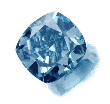 "A rare, flawless, vivid blue diamond that weighs 7.03 carats. It was cut from a 26.58 carat rough stone discovered in 2008 at the Cullinan diamond mine in South Africa. The stone has been named ""Star of Josephine."""