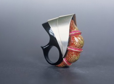 Silver and thermoplastics ring by  Peter Chang