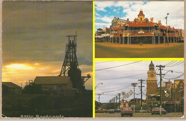 Vintage multiview chrome postcard of Western Australia scenes showing the Hainault Gold Mine in Boulder and the Exchange Hotel, Post Office and Hannan Street in Kalgoorlie.