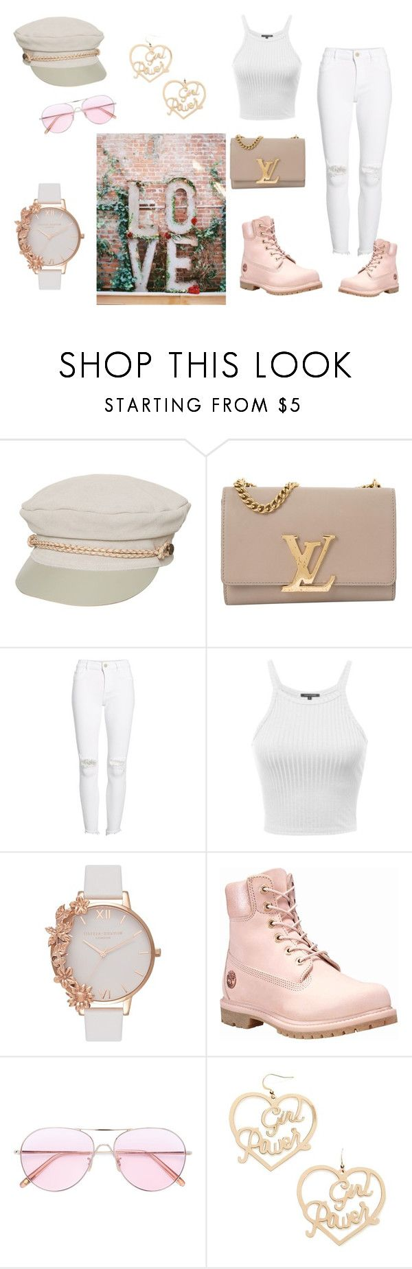 """""""Girl Power"""" by sheelaht ❤ liked on Polyvore featuring Brixton, Louis Vuitton, DL1961 Premium Denim, Olivia Burton, Timberland, Oliver Peoples, Forever 21, womensHistoryMonth, pressforprogress and GirlPride"""