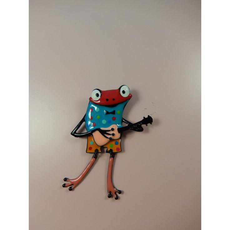 """Broche- """"Une grenouille à la cool."""".  Sans nickel.  longueur: 8 cm."""
