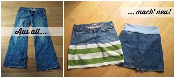 1 alte Jeans: 2 neue Jeansröcke!