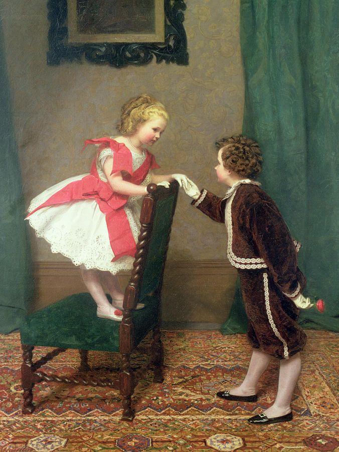 James Haylar (1829-1920) ––  Miss Lilys First Flirtation (676x900)