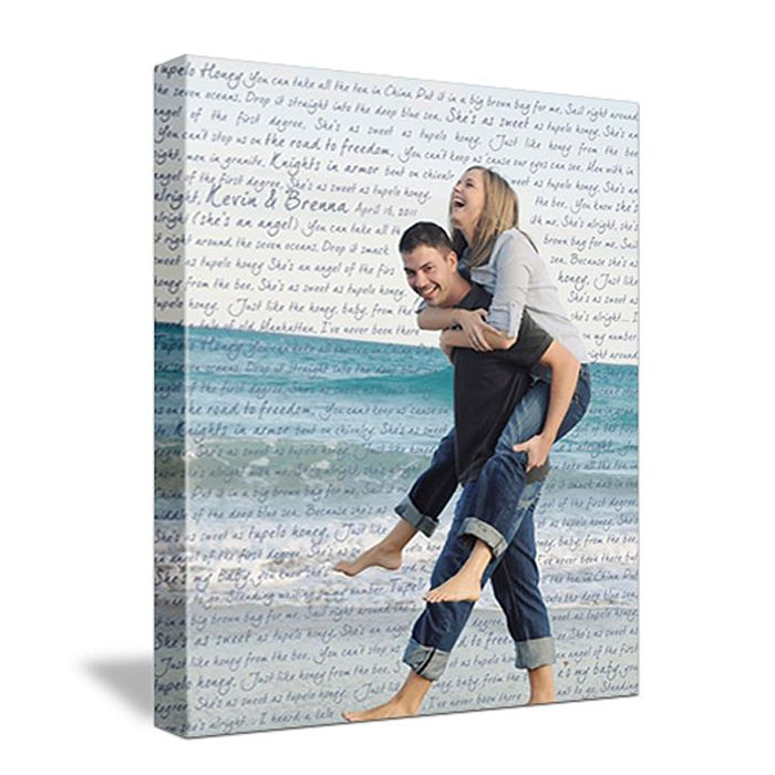 Canvas art with lyrics and words behind photo.  This would make a wonderful, unique gift.  A keepsake for sure. Gorgeous:)