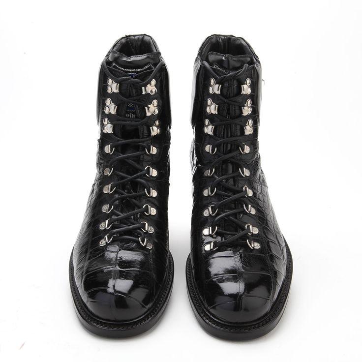 Caporicci Italian Mens Shoes Black Alligator Boots ART570 (CAP1023)