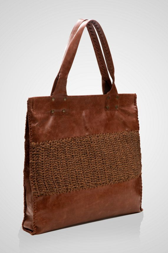 Boho shoulder bag, brown leather, veal leather,  crochet, cotton yarn, fine fabric, tote bag, elegant, 100% handmade, exclusive design $302.75 on Etsy by SpiralCrochetDesigns