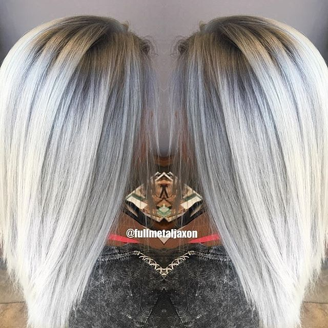 ❤️ On pre-lightened hair, @fullmetaljaxon did a soft shadow root and icy silver tones using #KenraColor Demi 8SM & 9VM at the base and 10V & 10SM on the midshaft to ends. #MetallicObsession #Kenra #silverhair