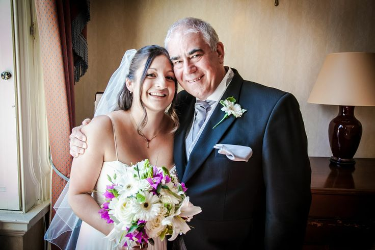 A bride and her proud dad, just a few minutes before the ceremony.