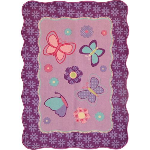 Walmart Purple Rug: American Kids Round Butterfly Patches Accent Rug, Purple