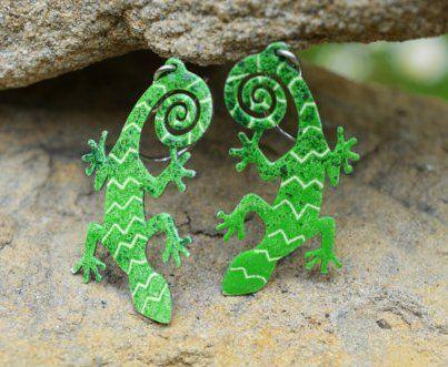 Stainless steel lizard earrings by #CinkyLinky - $ 19