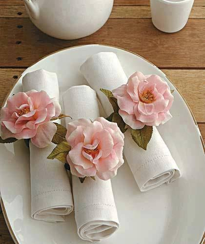 Beautiful pink peony napkin rings for these rolled napkins.