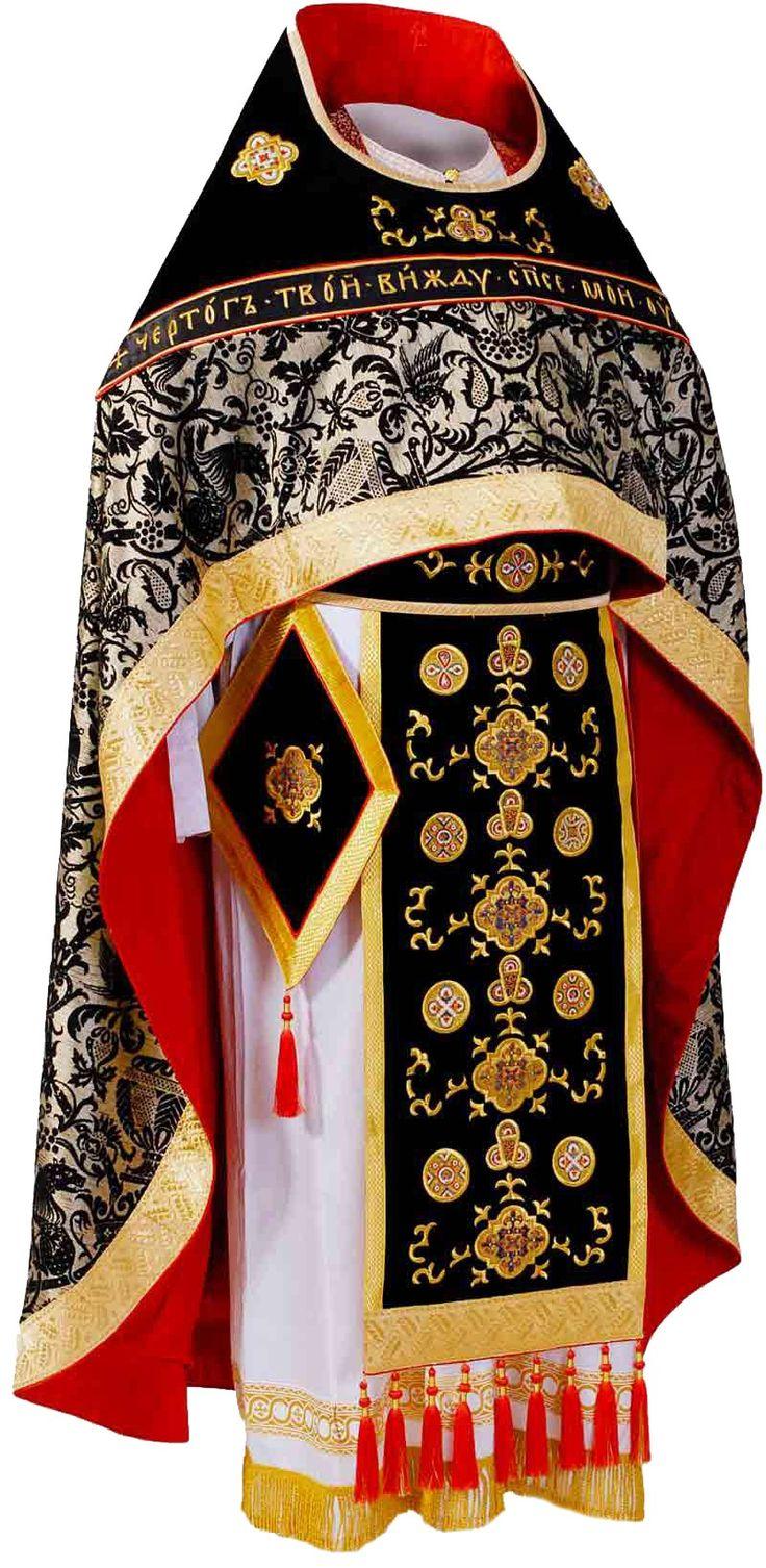 Black priest vestment, $1,570.00, Sombre colored Lenten vestment decorated with…