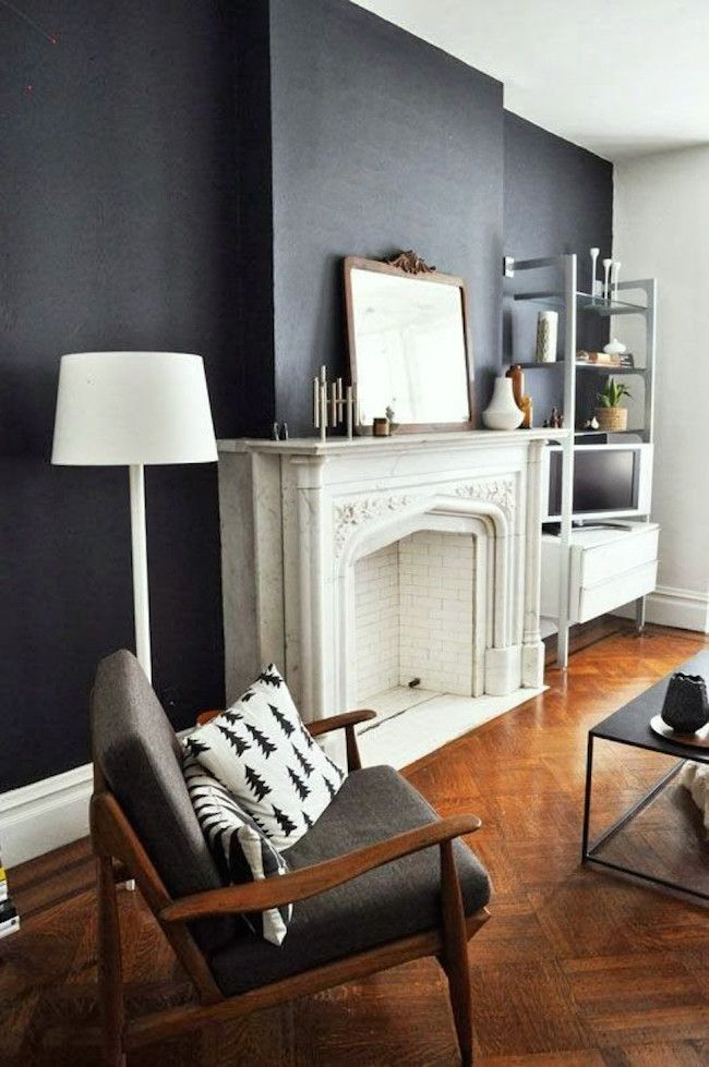 "Decorating Around The TV | 20 Elegant, Inspiring Ideas - laurel home | handsome living room. Dark colors behind the TV help it to ""disappear."""