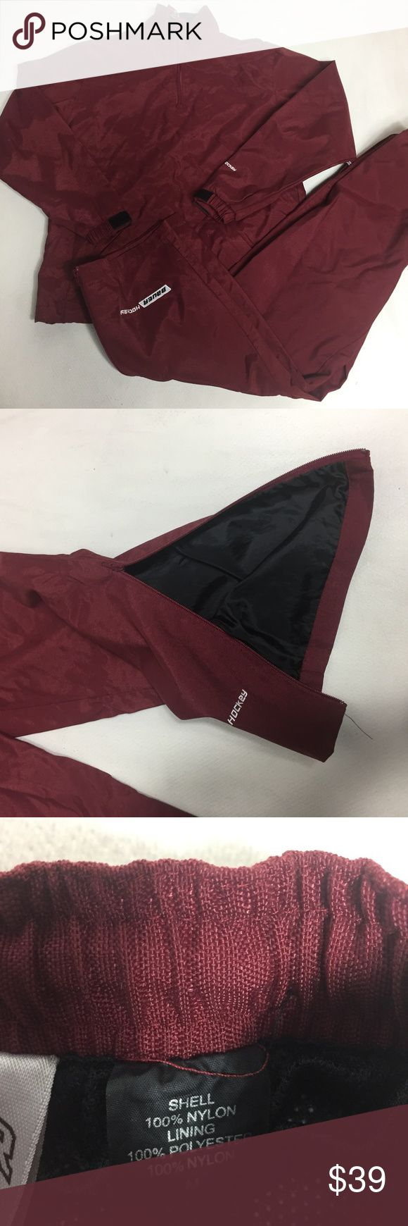 Bauer Hockey Boys Training Set Jacket Pants Lined Hockey Boys Training Set Jacket Pants Windbreaker Lined  Size M Maroon (will fit 12-14 years old)   in new condition  A6209kt10 Bauer Other