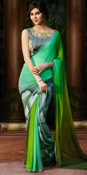 Mystical Green And Multi-Color Georgette Saree.