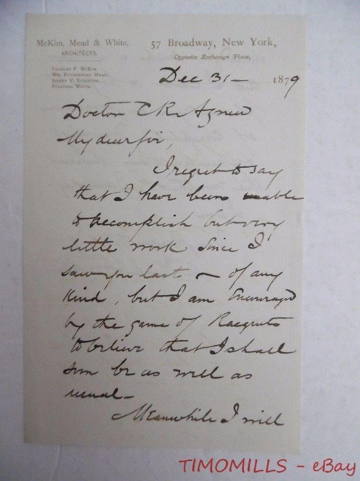 1879 Charles Follen McKim Letter Mead White New York