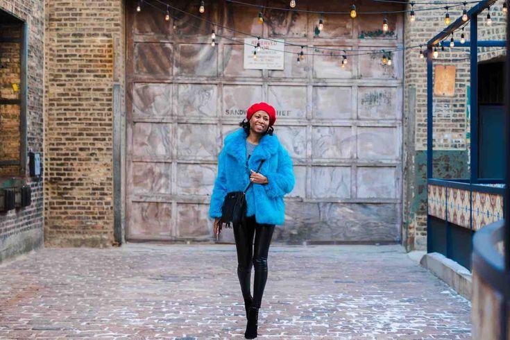 Chicago street style #fauxfur #dvf #fashion