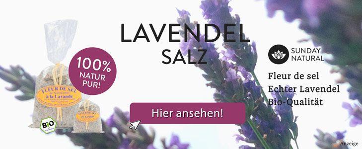 Lavendelsalz Rezept: Mediterranes Gewürz herstellen für Fisch, Fleisch, Gemüse und Salat. Mit der richtigen Lavendelsorte frisches Salz selber machen.