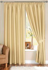 Java Faux Silk Cream Pencil Pleat Curtains (with tiebacks)