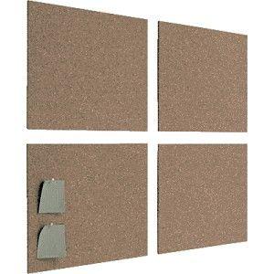 Estuche con 4 placas de corcho autoadhesivo de 5 mm. de espesor, que permiten, pegándolos a la pared, formar un tablero de corcho, rápido y eficaz.