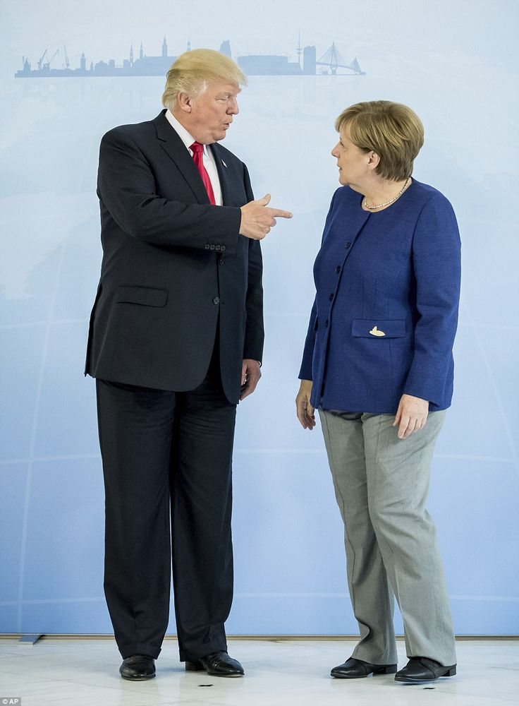 Your haircut and pantsuit reminds me of someone...   #Trump #Hillary #Clinton #G20 #2017 #Merkel