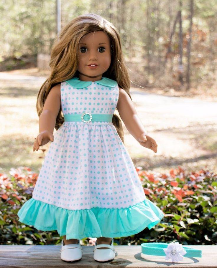 "Handmade American Girl Doll Clothes, Teal/White Polka Dot Dress, Fits Lea, 18"""