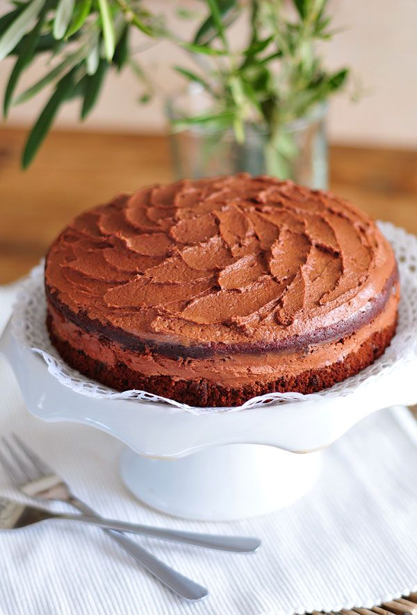 Schokoladenkuchen mit Schokocreme vegan & fructosearm