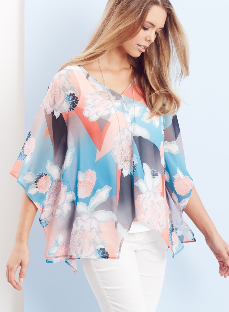 THE KAFTAN TOP / Introducing your favourite wardrobe multi-tasker. The kaftan top with its soft and drapey silhouette and feminine oriental print works effortlessly with dress pants or denim.