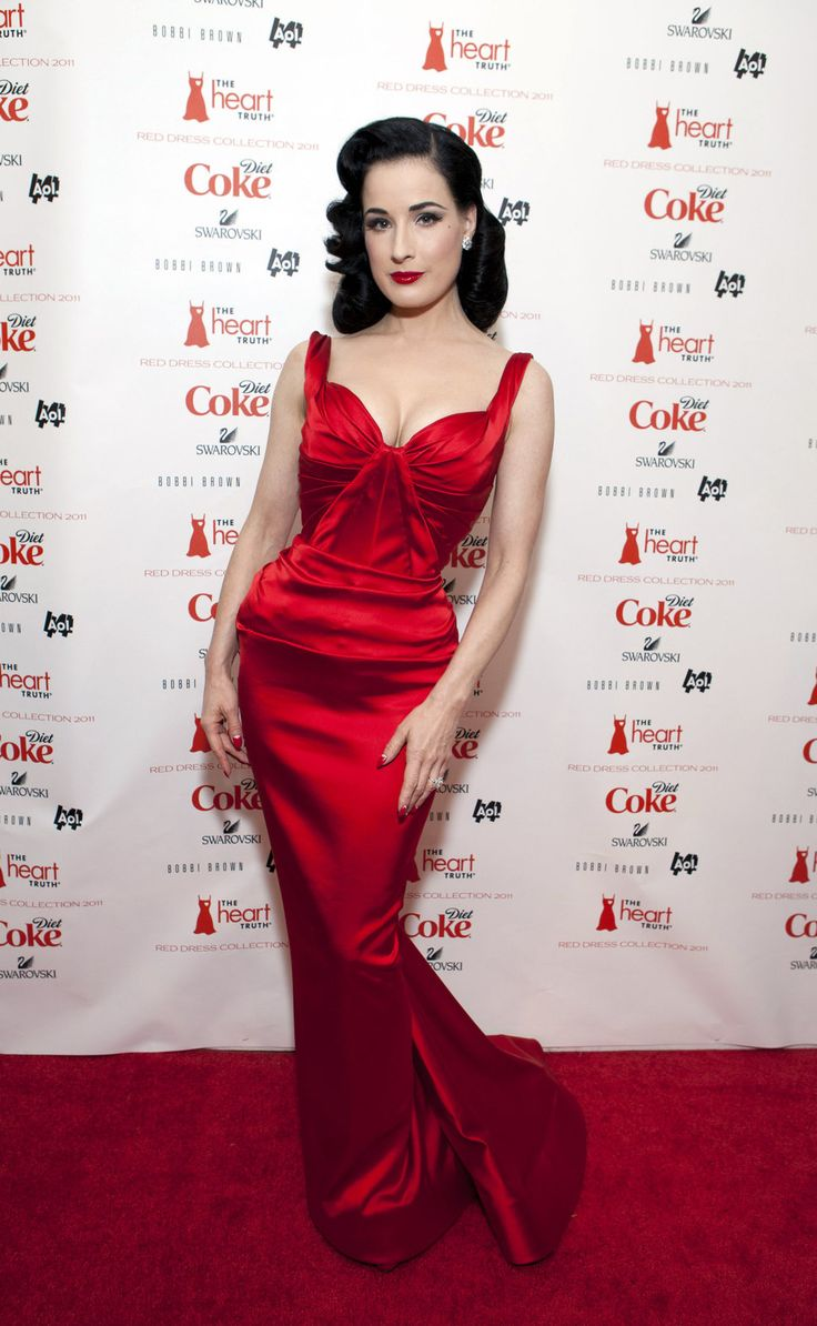 dita von teese zac posen red dress diamond earrings diamond ring red