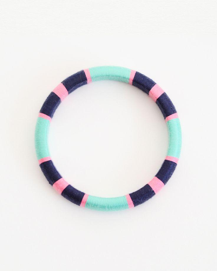 mint/pink/navy thread wrapped bracelet