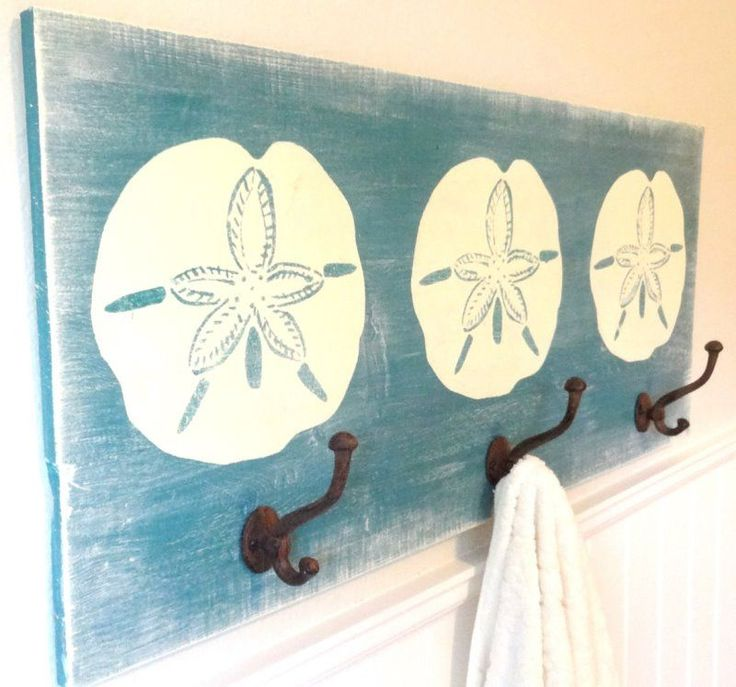 Handcrafted Wooden Large Sand Dollar Towel Rack: Coastal Home Decor, Nautical Decor, Tropical Island Decor & Beach Furnishings