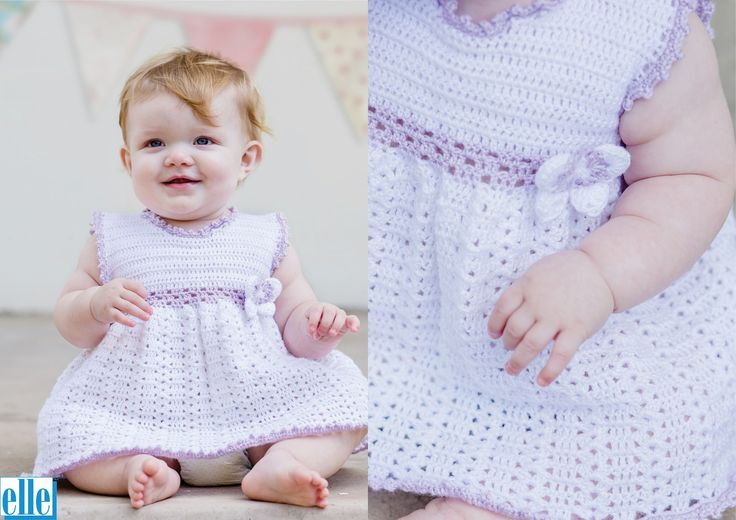 Butterfly Dress  Brand: Elle Count: 4ply Yarn: Babykins Size From: Birth Size To: 24 months