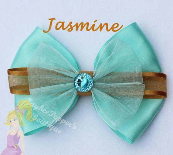 Jasmine hair bow Disney inspired Aladdin hair clip Aqua green gold ...
