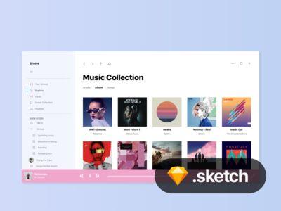Freebie: Windows 10 Project NEON Groove Music UI