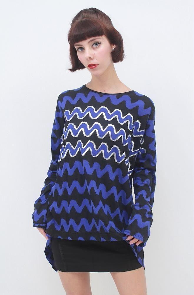 SASS & BIDE 'MOJO KIKO' Blue Black Silver Back Detail Long Sleeve Top AUS 10 S
