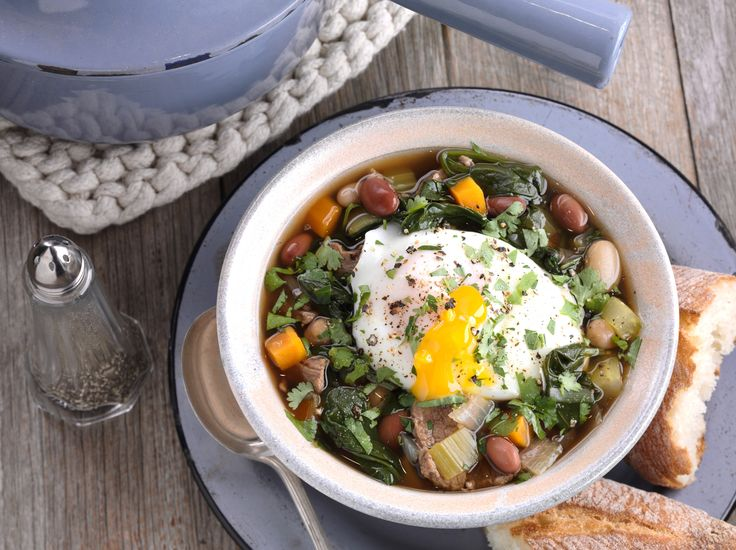 Beef, Mixed Bean and Spinach Soup with Poached Egg: Recipe courtesy of AECL
