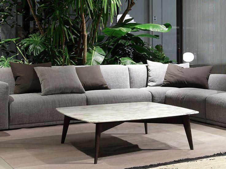 Table basse carrée en marbre BIGGER by Poliform | design Carlo Colombo