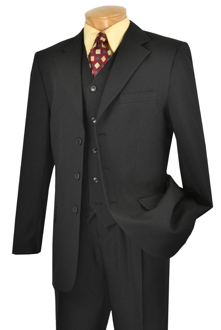 Lucci Black 3 Button Mens Suits 3 Piece Suit V 3pp Suits