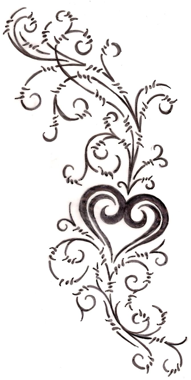 Heart with Barbed Wire Swirls Tattoo 4 by ~Metacharis on ...